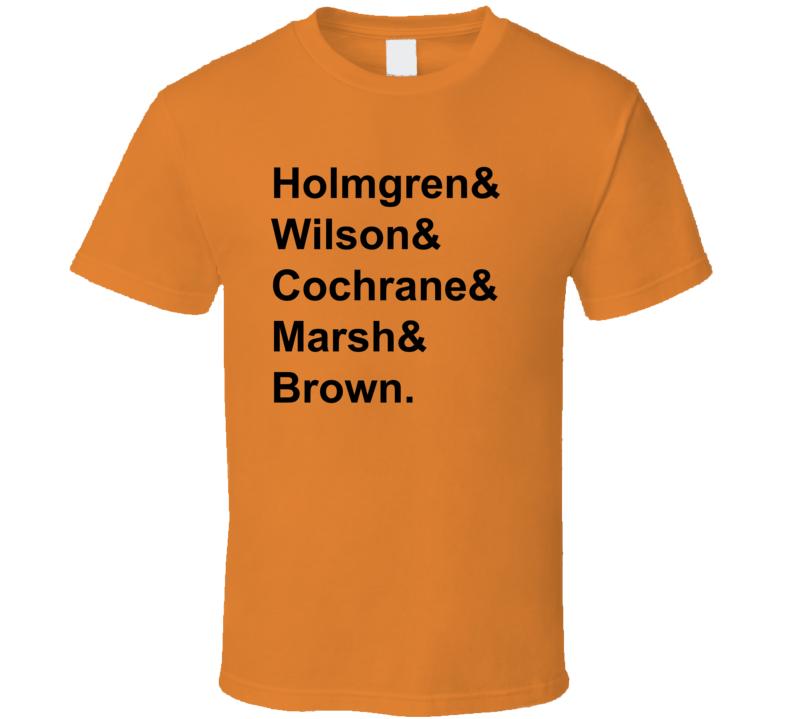 Holmgren Wilson Cochrane Marsh Brown 1982 Philadelphia Hockey Goon T Shirt