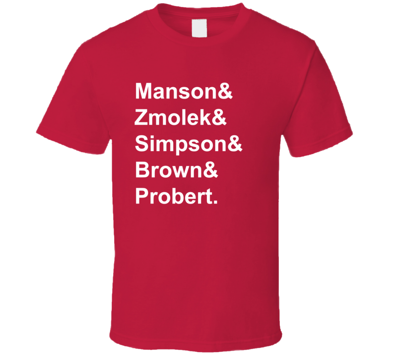 Manson Zmolek Simpson Brown Probert 1998 Chicago Hockey Goon T Shirt