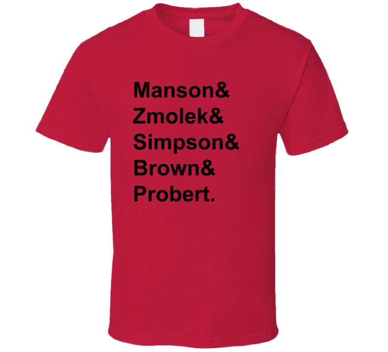 Manson Zmolek Simpson Brown Probert 1998 Chicago Hockey Goon T Shirt