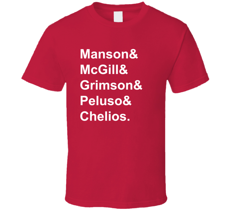 Manson McGill Grimson Peluso Chelios 1990 Chicago Hockey Goon T Shirt