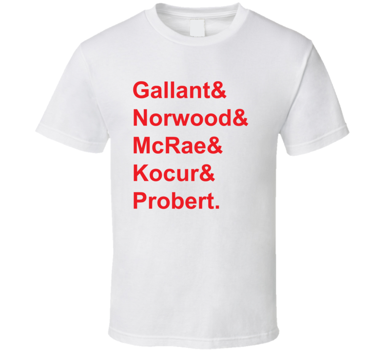Gallant Norwood McRae Kocur Probert 1986 Detroit Hockey Goon T Shirt