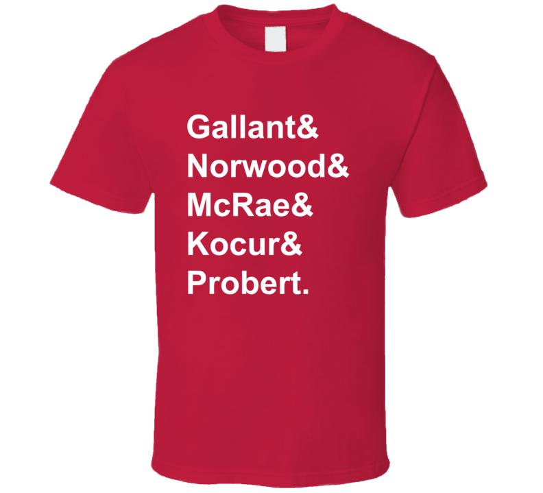 Gallant Norwood McRae Kocur Probert 1986 Detroit Hockey Goon T Shirt