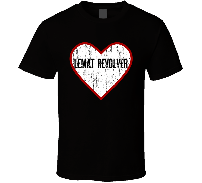 Lemat Revolver Distressed Heart Love Military Weapon T shirt
