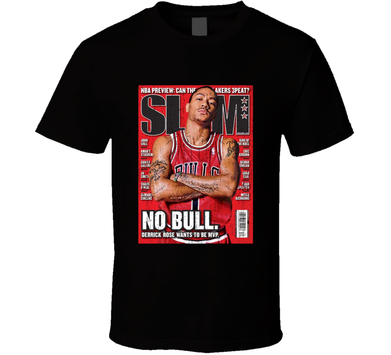 Slam Magazine Issue 143 Derrick Rose Popular Basketball Magazine Grunge Look T Shirt