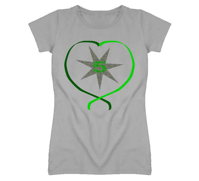 5 Star Camouflage Heart Ladies T-Shirt