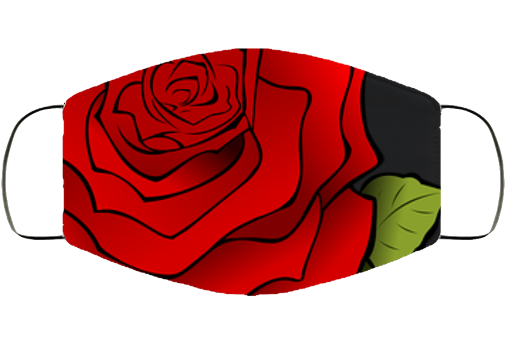 Red Rose Face Mask Cover