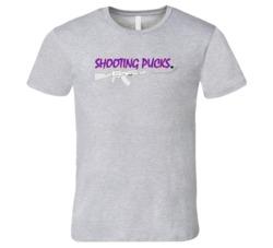 Shooting Pucks Hockey Stick Puck Machine Gun Sports Fan T Shirt