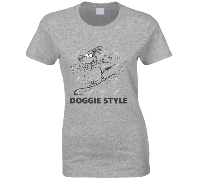 Doggie Style Funny T Shirt Cartoon Snowboarding