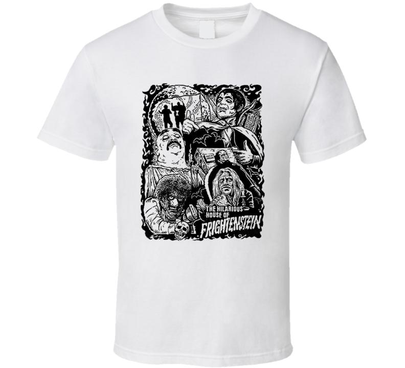 Hilarious House of Frightenstein Retro Horror Black and White T Shirt