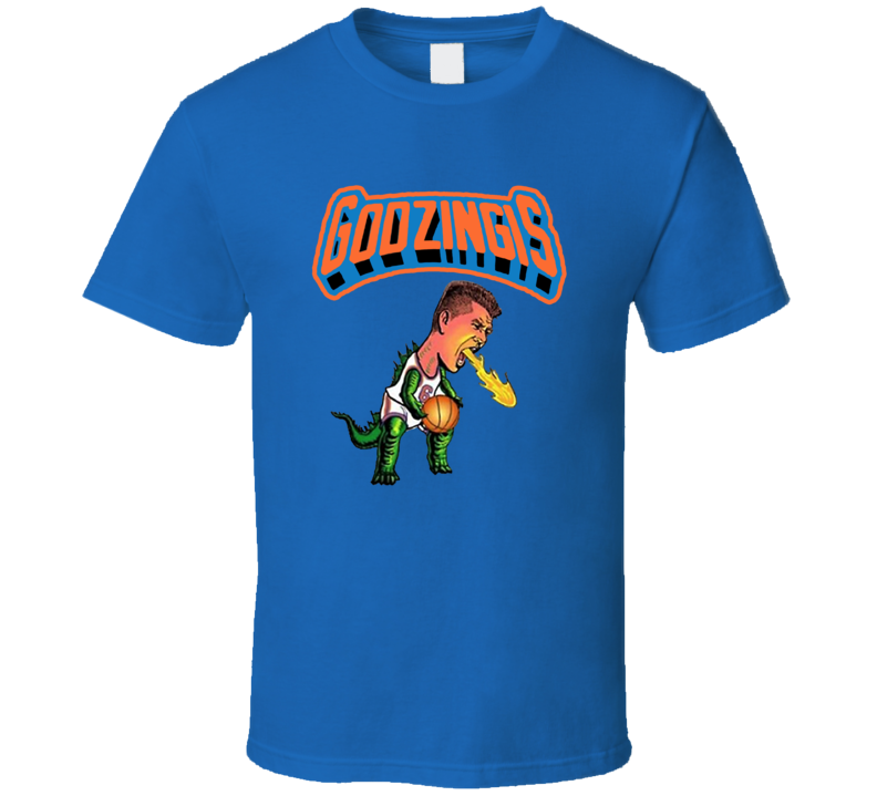 Kristaps Porzingis Godzingis New York Knicks Basketball Sports Blue T Shirt