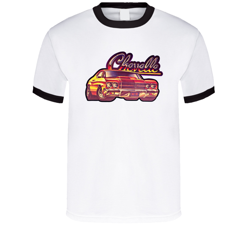Chevelle Classic Car Retro Patch Black Ringer T Shirt