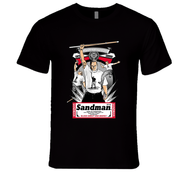 Sandman ECW Budweiser Hardcore Retro Classic Wrestling Black T Shirt