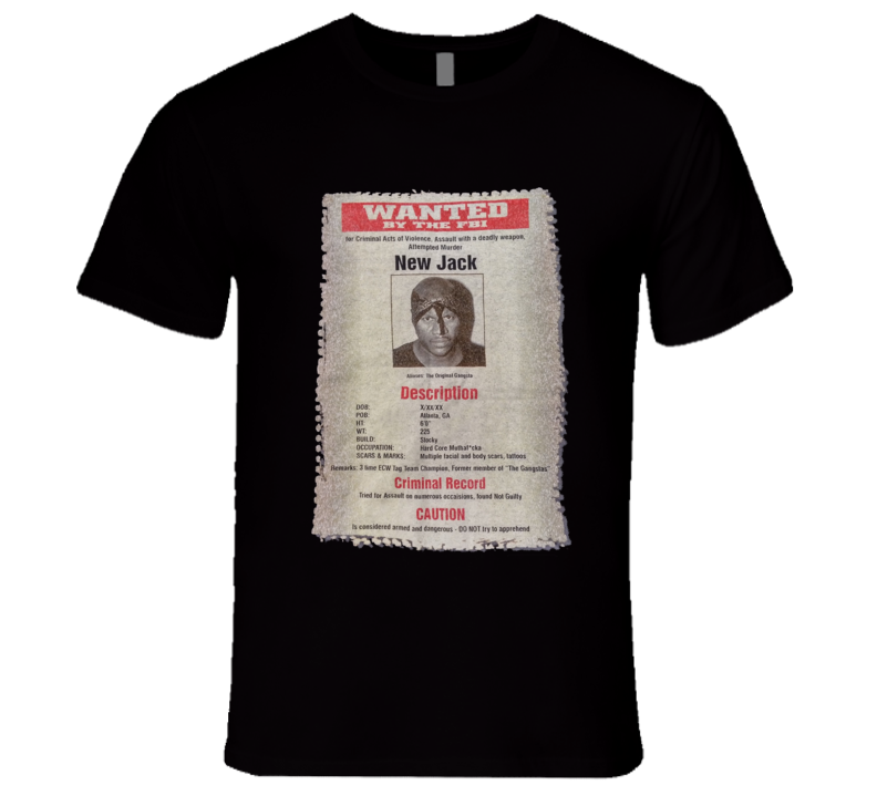 New Jack ECW Wanted Poster Retro Wrestling T Shirt