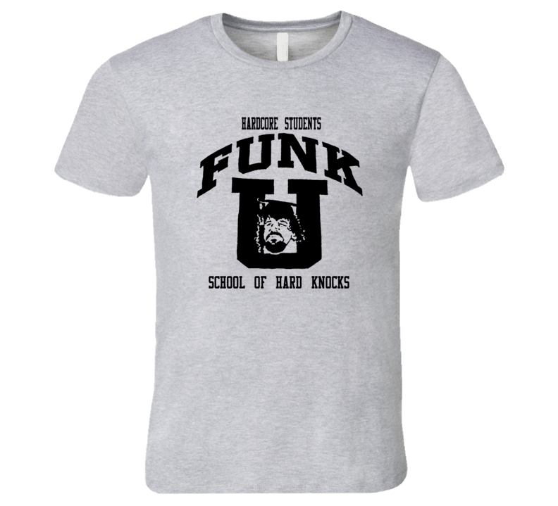 Terry Funk Hardcore Students School of Hard Knocks Classic Wrestling Sport Grey T Shirt