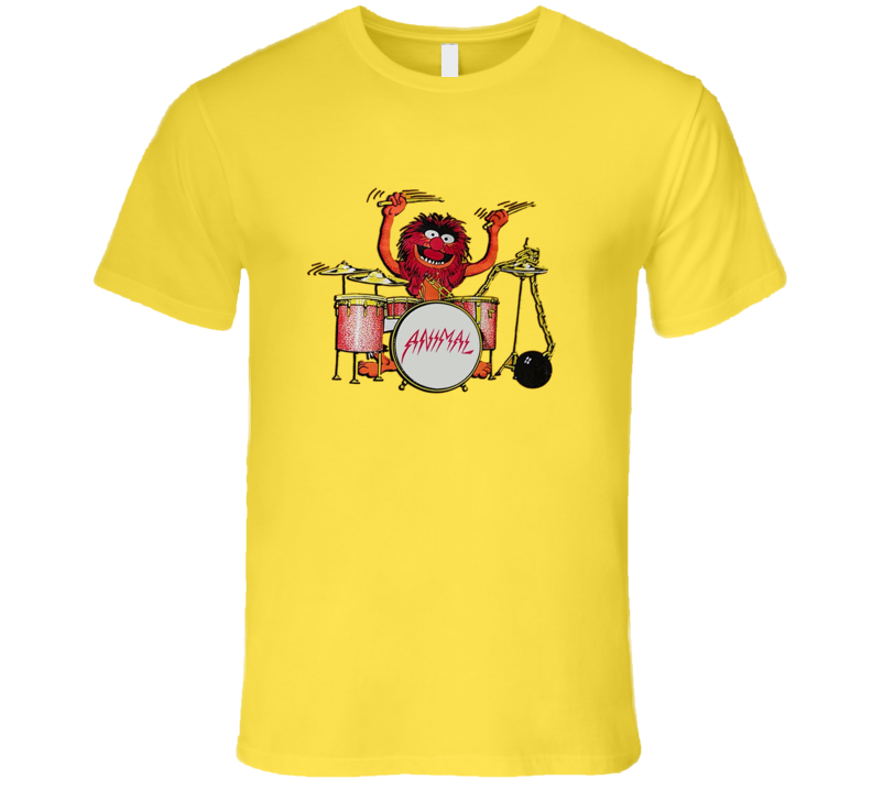 Animal Muppets Drummer Retro Cartoon Music T Shirt