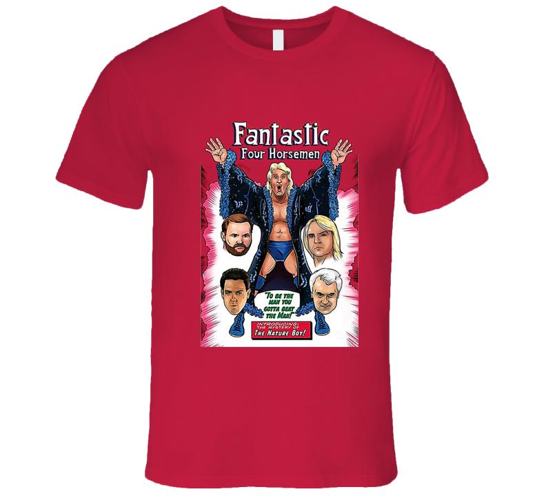 The Four Horsemen Ric Flair Comic Classic Retro Rare Wrestling Red T Shirt