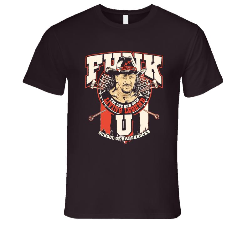 Terry Funk School of Hardknocks Classic Retro Rare Wrestling Brown T Shirt