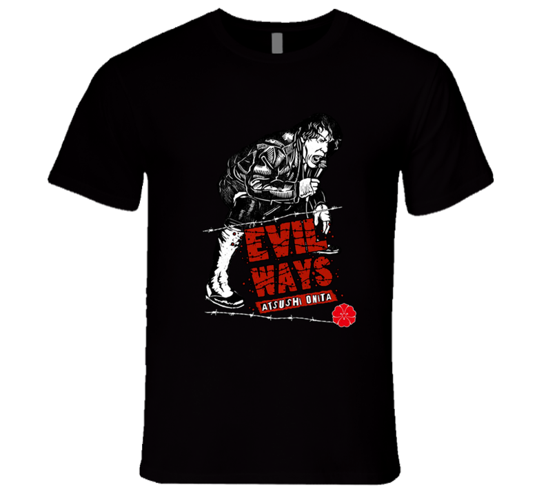 Atsushi Onita Evil Ways FMW AJPW Japan Classic Retro Rare Wrestling T Shirt