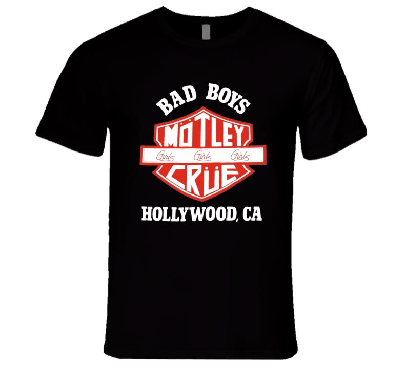 Motley Crue Girls Girls Girls Bad Boys Hollywood Retro 80's Rare Classic Music T Shirt