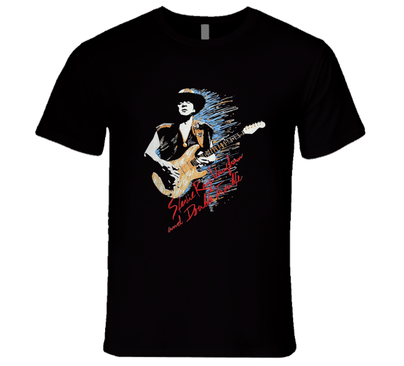 Stevie Ray Vaughn and Double Trouble Classic Retro Rare Rock T Shirt