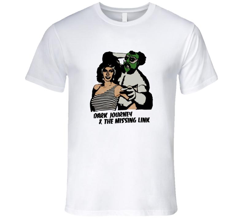 Dark Journey & the Missing Link Classic Retro Wrestling Black Ringer T Shirt REISSUE