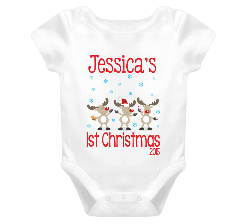 Baby's First Christmas Personalized Baby One Piece
