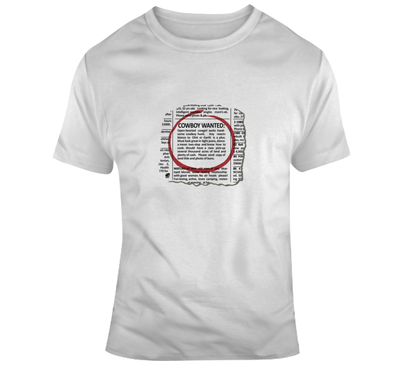 90's Cowboy Wanted Classifieds T Shirt