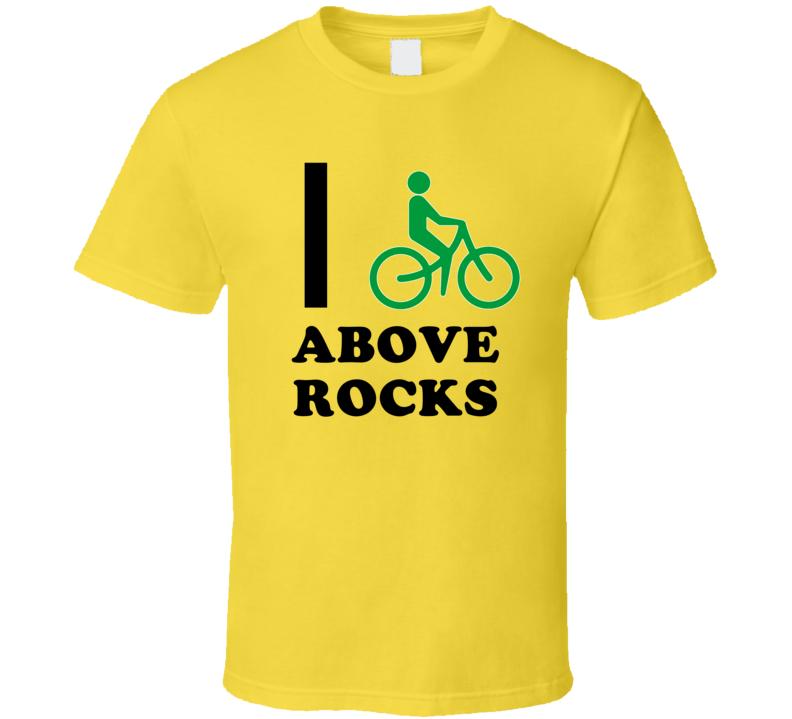 I Bike Above Rocks Jamaica Funny Bicycle City T Shirt