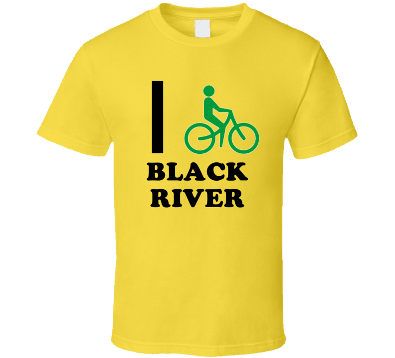 I Bike Black River Jamaica Funny Bicycle City T Shirt