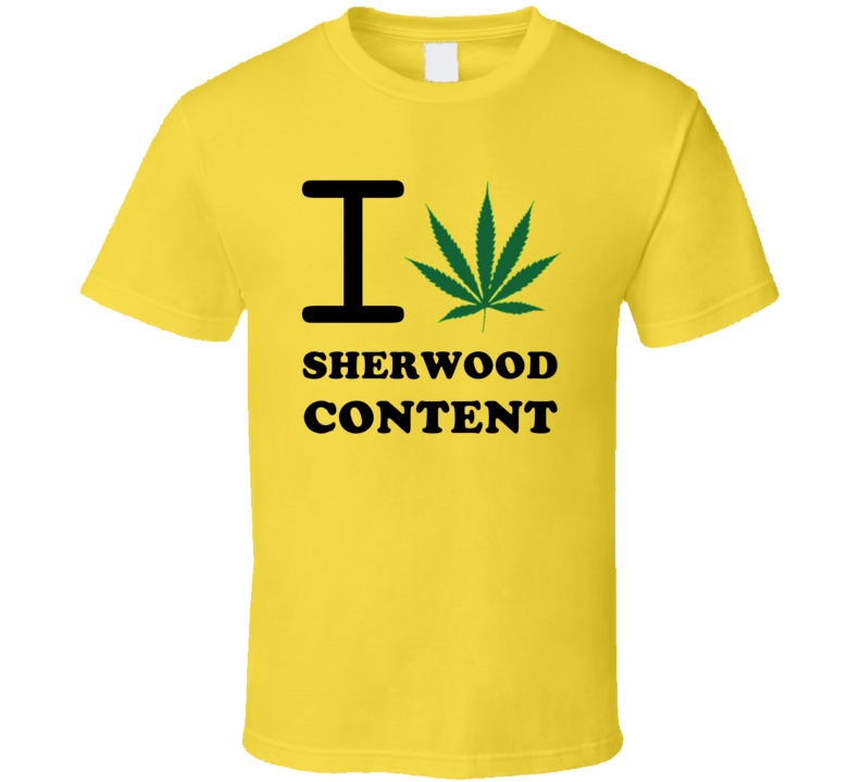 I Weed Sherwood Content Jamaica Heart Love Marijuana T Shirt
