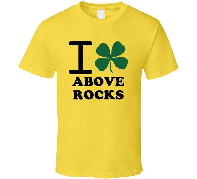 I Irish Clover Above Rocks Jamaica Heart Love T Shirt