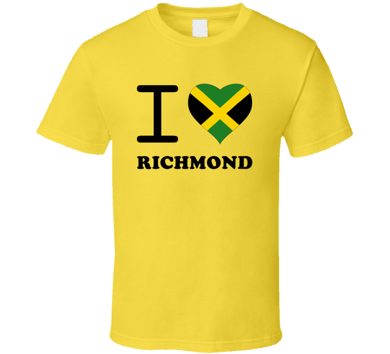 I Love Richmond Jamaica Heart City T Shirt