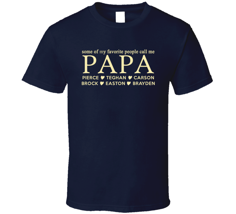 Papa T shirt gift with grand kid names