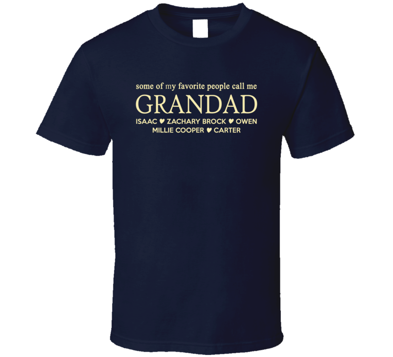 Grandad with Grandkid Names personalized Grandparent gift T Shirt