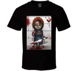 Chucky Cartoon Mugshot  T Shirt