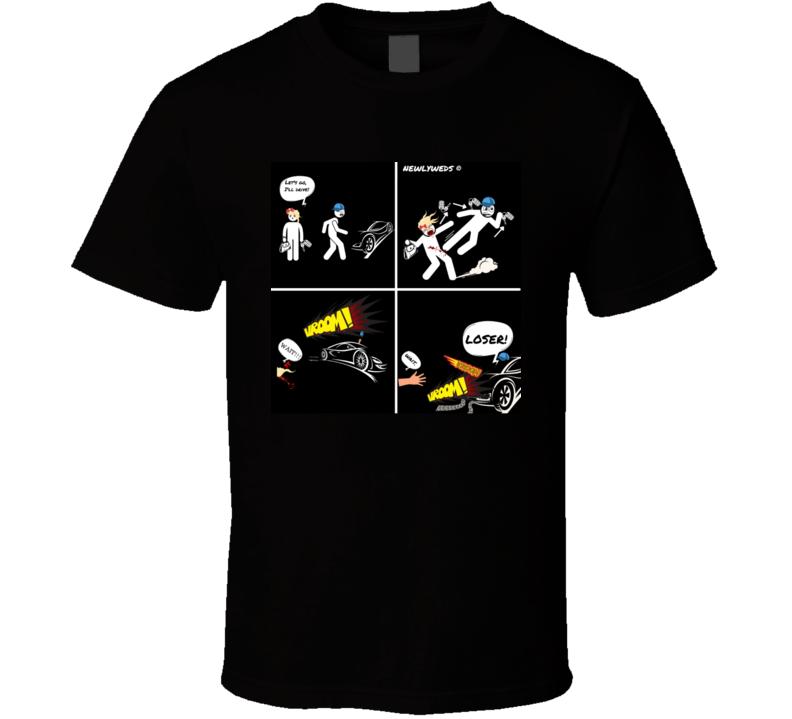 Newlyweds Comic Black T Shirt