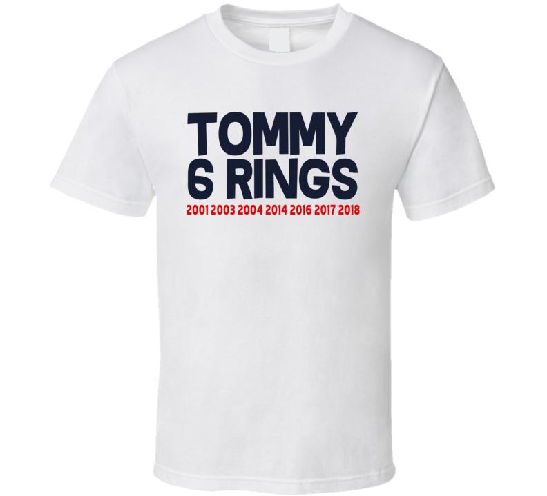 aedc042989abcd Tom Brady 6 Rings New England Football Sports Cool T Shirt