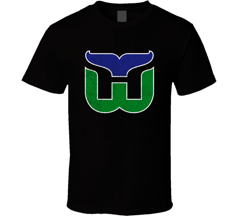 Hartford Whalers Retro Hockey Team Logo Worn Look Distressed Cool Fan T Shirt