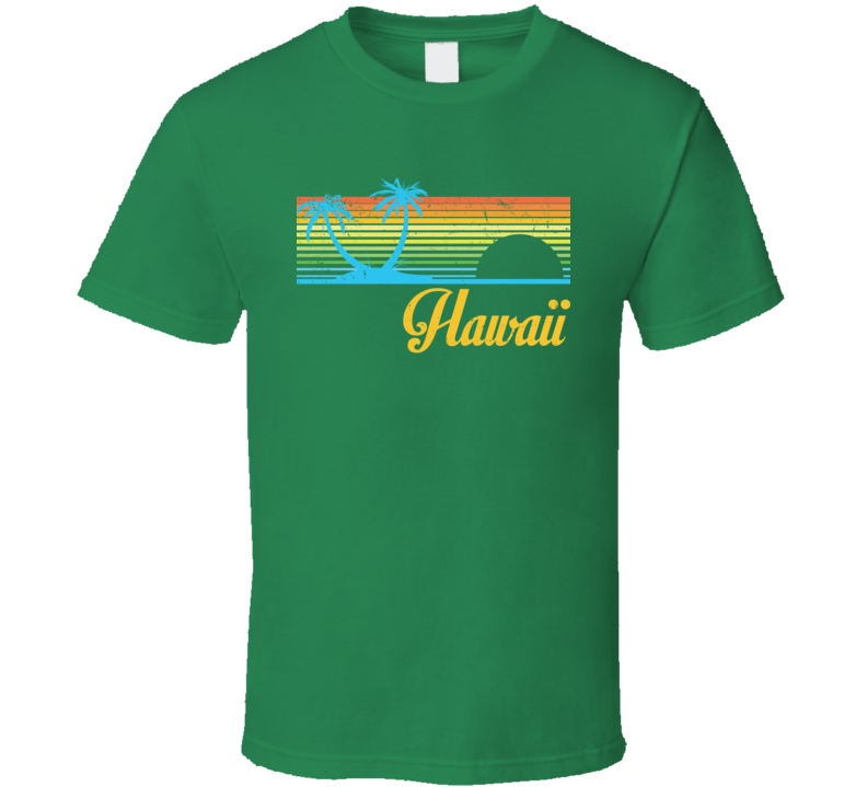 Hawaii Beach Sunset Tropical Vacation Distressed T Shirt
