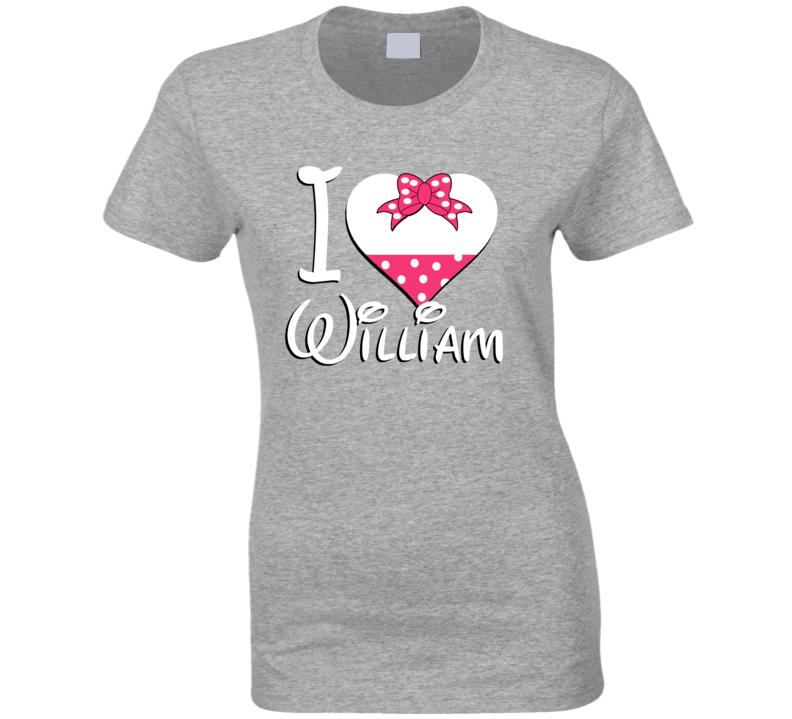 William Heart Love Boyfriend Girlfriend First Name Cute Valentines Gift T Shirt