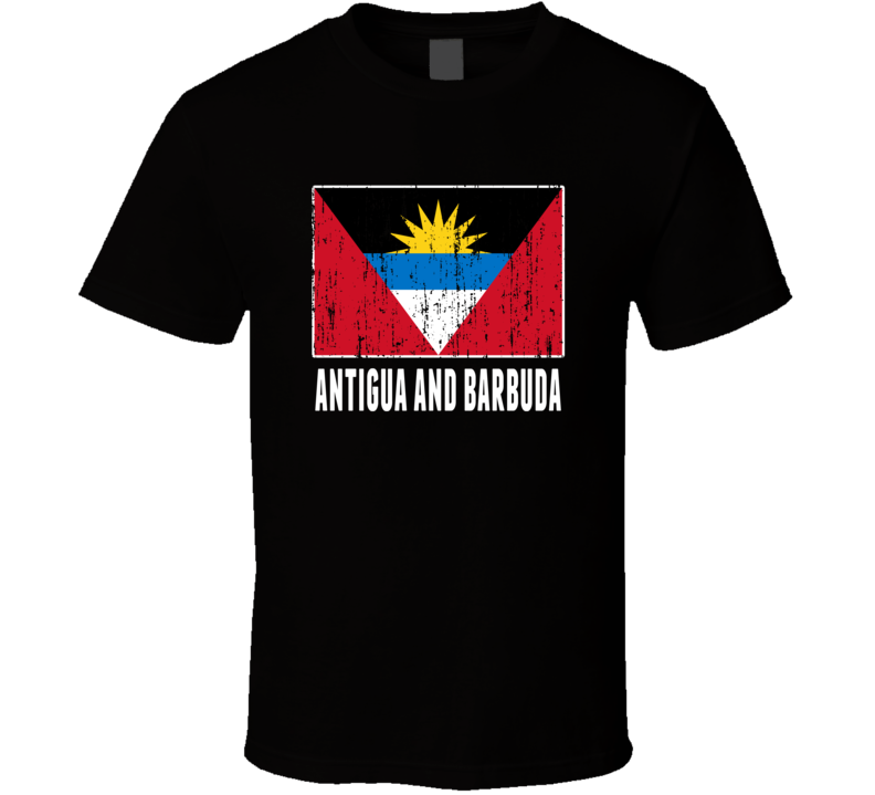 Antigua And Barbuda Country Flag Patriotic Distressed T Shirt
