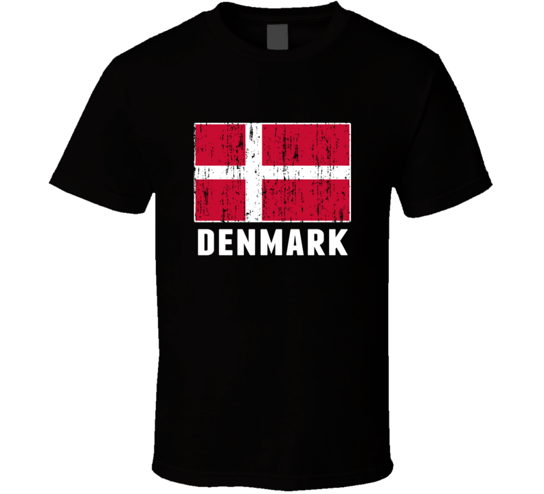 Denmark Country Flag Patriotic Distressed T Shirt