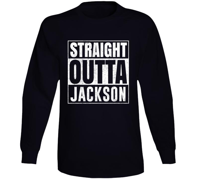 Straight Outta Jackson Wyoming City Grunge Parody Cool Long Sleeve T Shirt