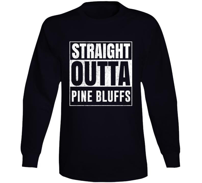 Straight Outta Pine Bluffs Wyoming City Grunge Parody Cool Long Sleeve T Shirt