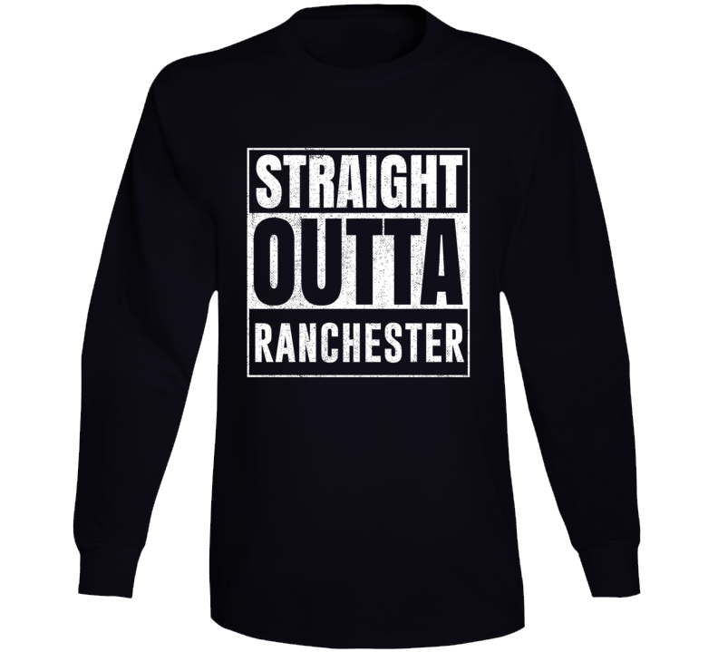 Straight Outta Ranchester Wyoming City Grunge Parody Cool Long Sleeve T Shirt