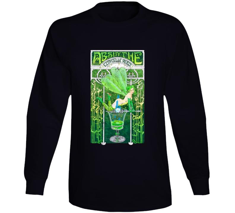 Absinthe The Green Fairy Distressed Poster Art Spirit Lovers Long Sleeve