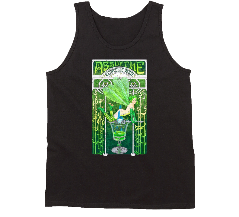 Absinthe The Green Fairy Distressed Poster Art Spirit Lovers Tanktop
