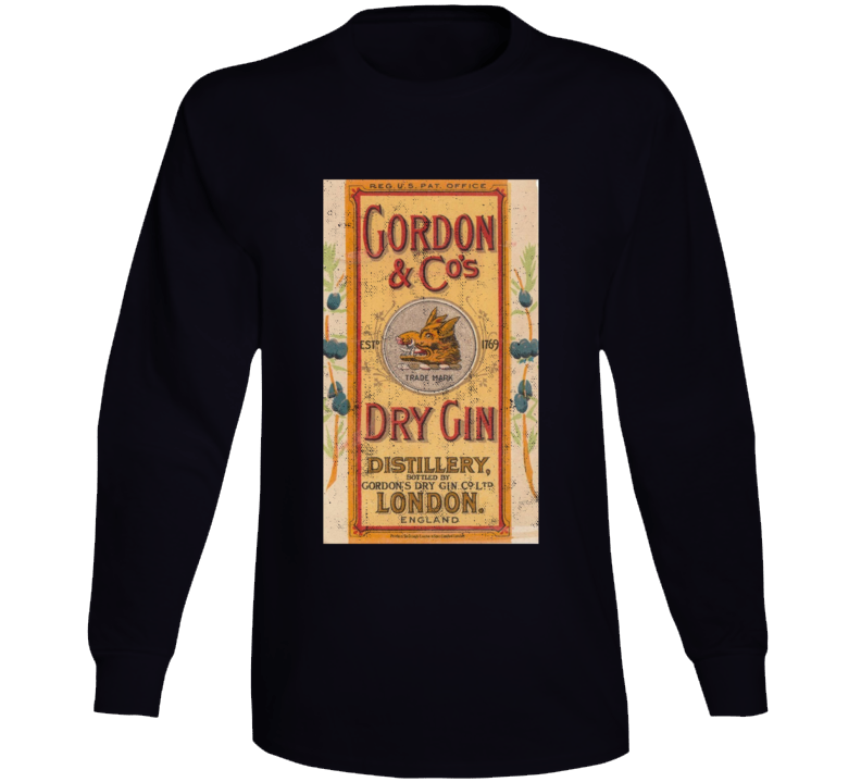 Gordon And Companys Dry Gin London Vintage Bottle Label Long Sleeve