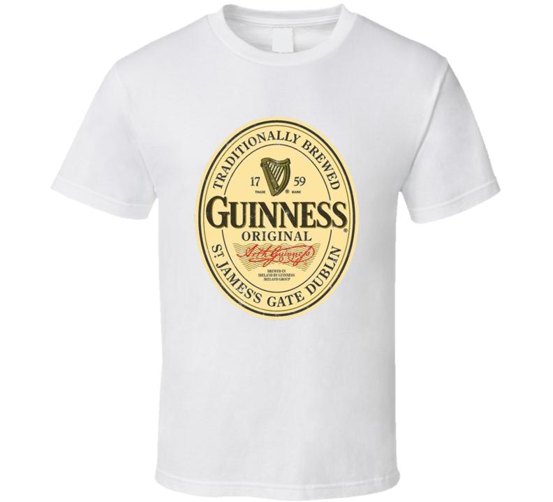 Guinness Original Irish Dry Stout Vintage Beer Bottle Label T Shirt