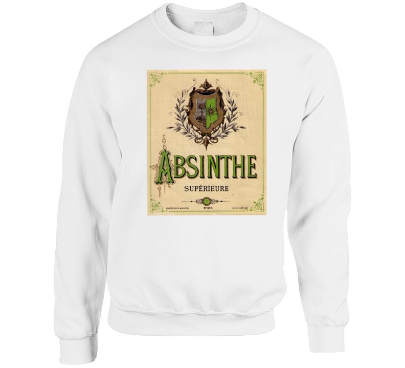 Absinthe Superieure Antique Bottle Label Alcohol Lovers Crewneck Sweatshirt